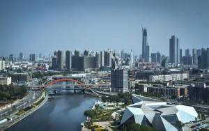 La città di Tianjin, vista su parte della Free Trade Zone