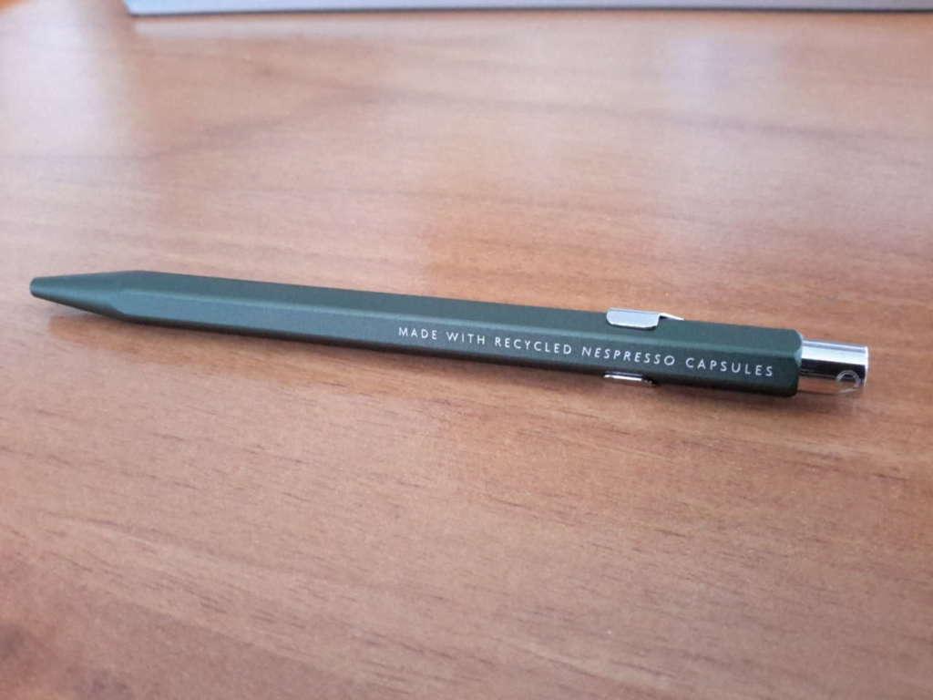 La penna realizzata con le capsule riciclate Nespresso